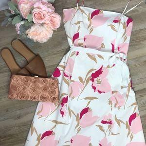 Banana Republic White Pink Floral Midi Dress
